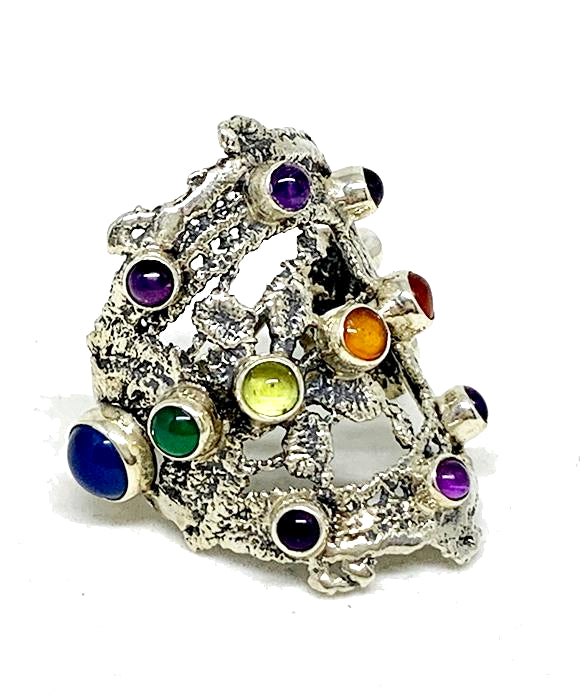 Lace Cast in Sterling Silver with Semi Preciuos Rainbow Stones - Size 9.5