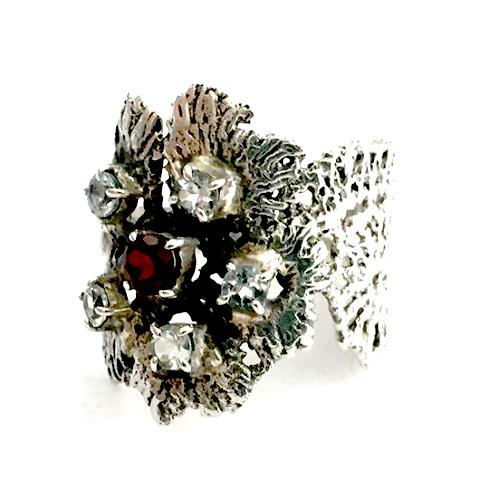 Flower Lace Cast in Sterling Silver with Faceted Topaz and Garnet Ring - Size 8