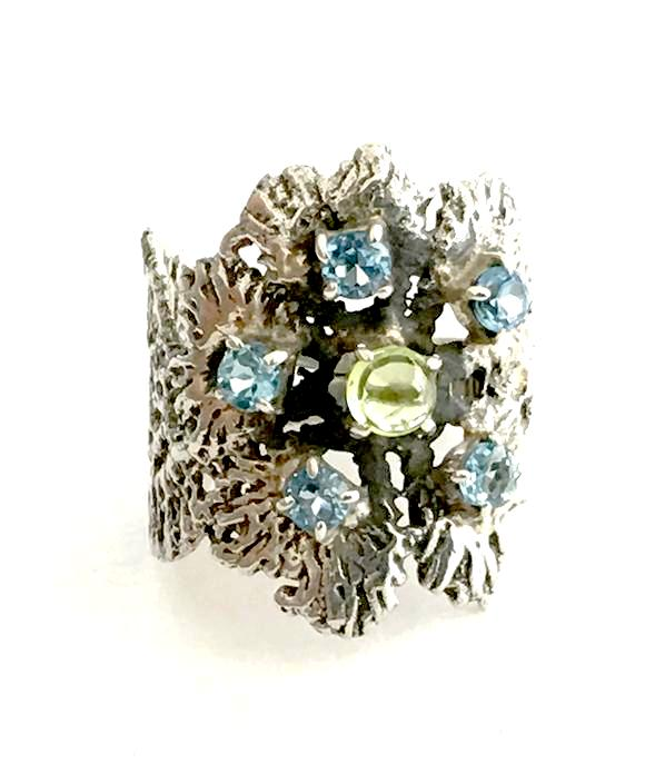 Flower Lace Cast in Sterling Silver with Faceted Blue Topaz and Peridot - Size 7