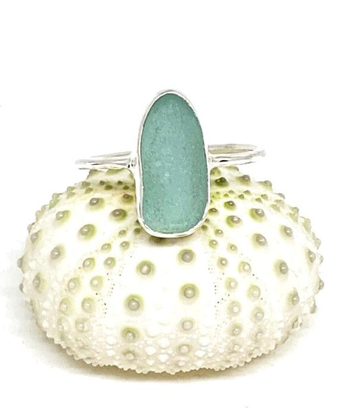 Long Aqua Blue Sea Glass Stack Able