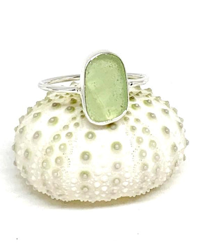 Pale Textured Sage Green Sea Glass