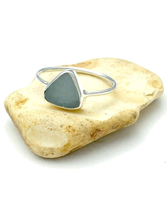 Light Blue Triangle Sea Glass Stack Able