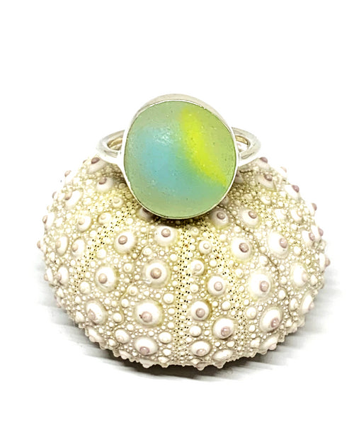 Aqua & Yellow Sea Glass Marble Ring - Size 6