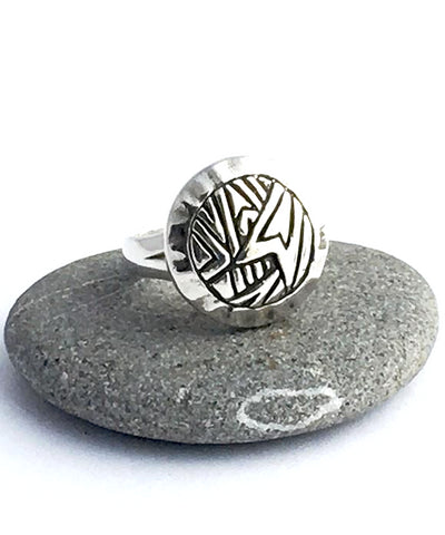 Cast Sterling Vintage Modern Button Ring - Size 7