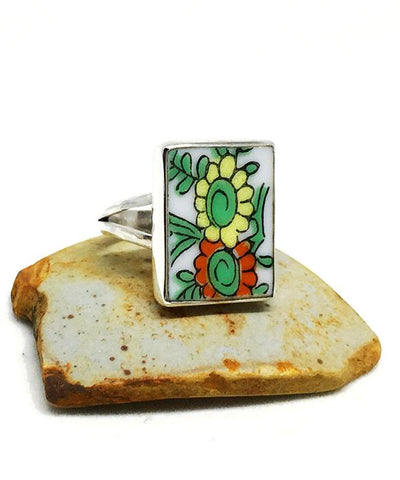 Orange and Yellow Flower Rectangle Vintage Pottery Ring- Size 6