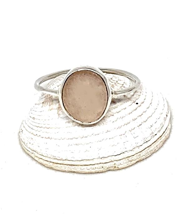 Light Pink Textured Vintage Button Simple Bezel Ring - Size 9
