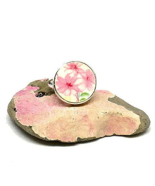 Three Pink Flowers Round Vintage Pottery Ring- Size 6