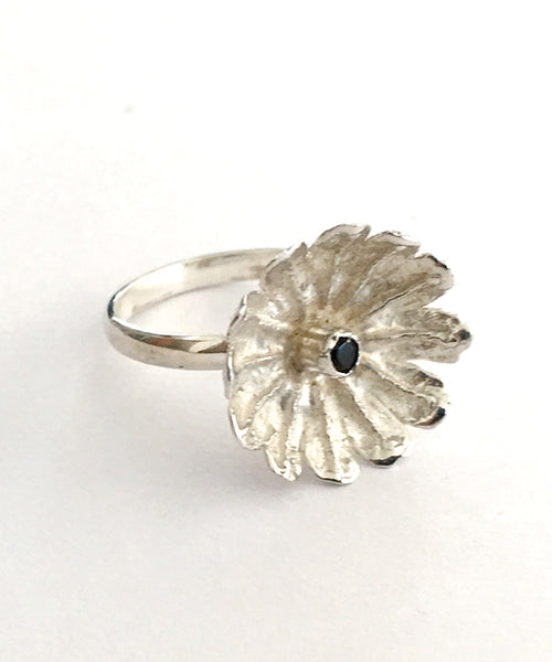 Poppy Ring Cast in Sterling Silver with Faceted Smokey Quartz Stone - Size 7