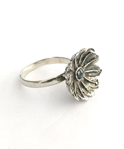 Poppy Ring Cast in Sterling Silver with Faceted Blue Topaz Stone - Size 8