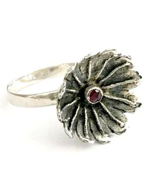 Poppy Ring Cast in Sterling Silver with Faceted Garnet Stone - Size 7