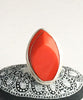 Red Deco Vintage Button Statement Ring - Size 7