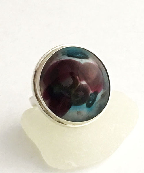 Raspberry and Turquoise Fused Glass Bubble Ring - Size 8