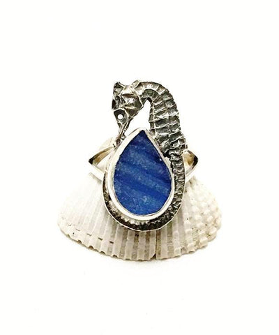 Sea Horse & Textured Blue Sea Glass Ring - Size 7.5