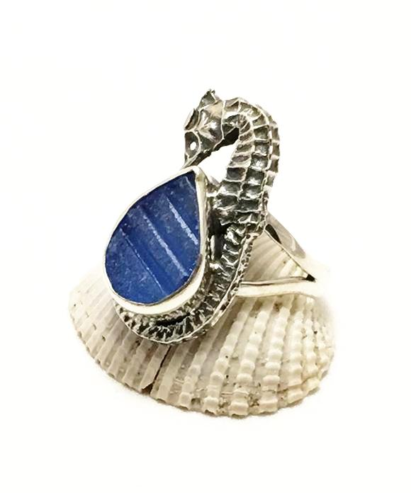 Real Sea Horse and Textured Blue Sea Glass Ring - Size 7.5