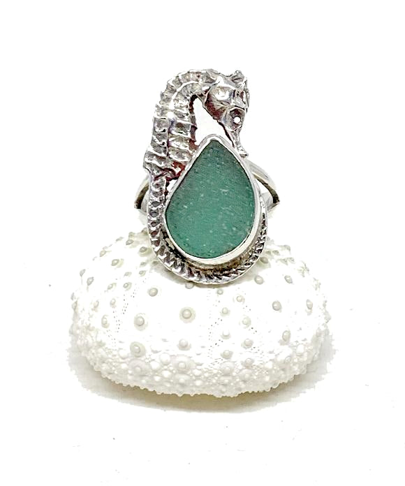 Sea Horse & Teal Green Sea Glass Ring - Size 6