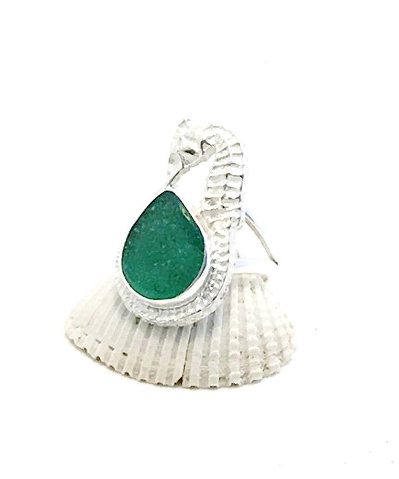 Sea Horse & Green Sea Glass Ring - Size 6