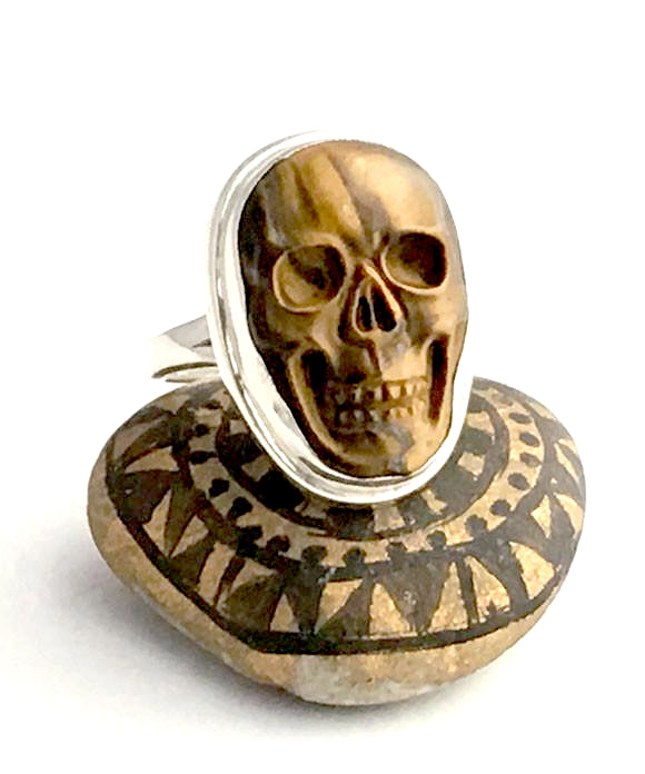 Hand Carved Striped Tigers Eye Skull Ring - Size 10