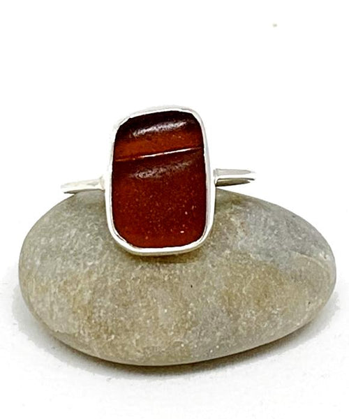 Textured Dark Brown Sea Glass