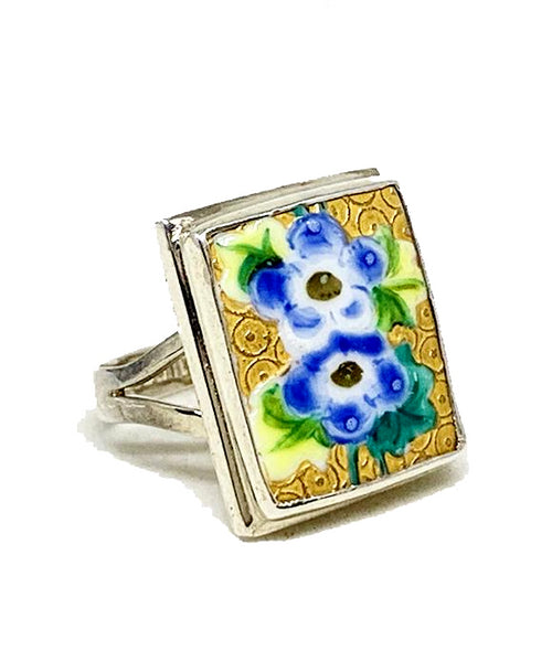 Blue and Yellow Flower On Textured Gold Rectangle Vintage Pottery Ring- Size 7