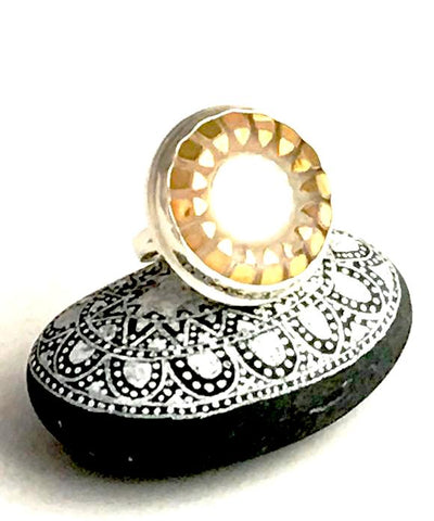 White and Gold Vintage Button Statement Ring - Size 7