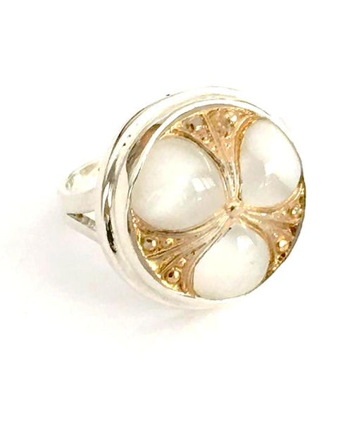 White and Gold Vintage Button Ring - Size 6