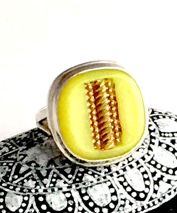 Yellow and Gold Vintage Button Ring - Size 5.5