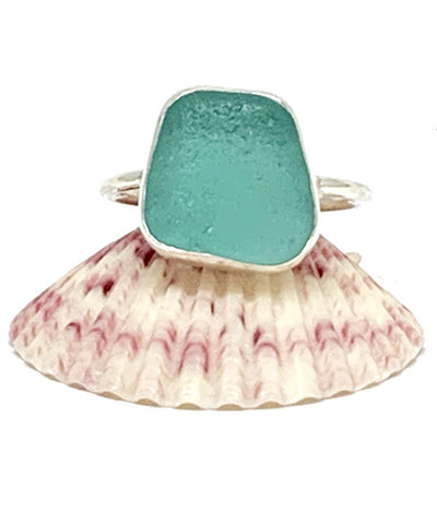 Chunky Dark Aqua Sea Glass Ring - Size 7