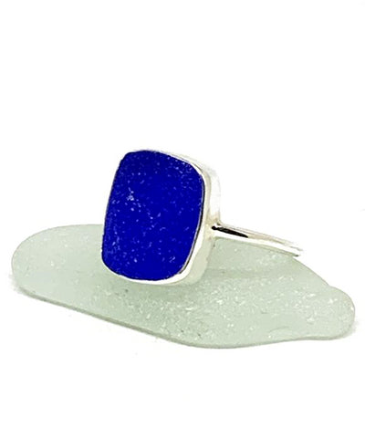 Large Square Cobalt Sea Glass Ring - Size 6