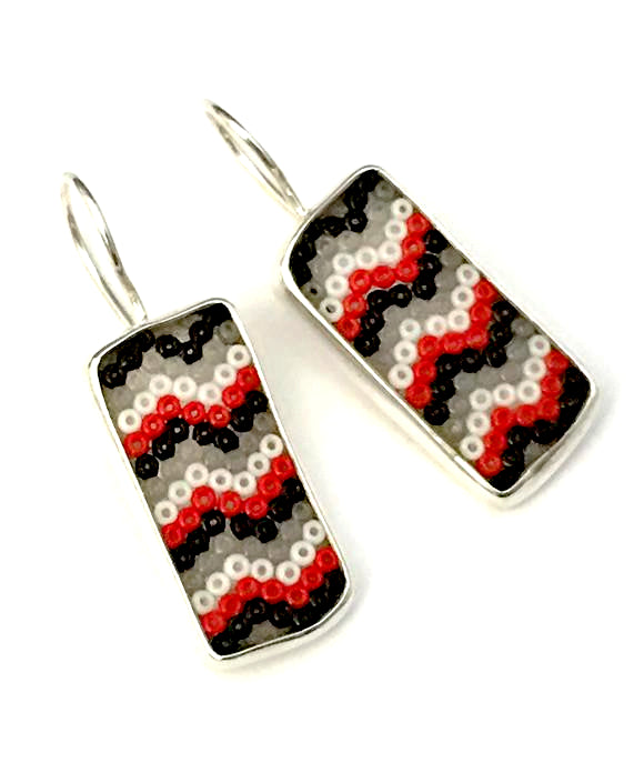 Red, Black, White & Grey Striped Fused Seed Bead Earrings