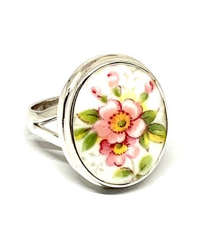 Pink Flowers Vintage Pottery Chunky Oval Ring- Size 7.5
