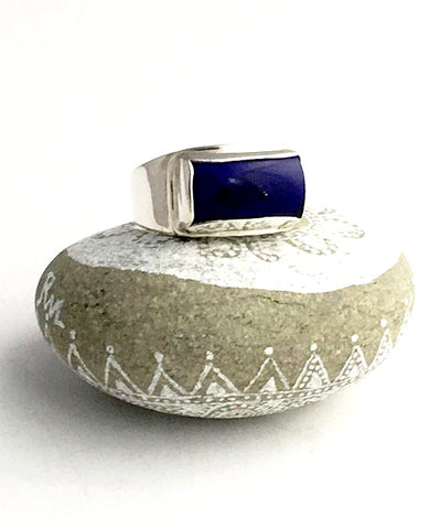 Rich Blue Lapis Heavy Band Ring - Size 12