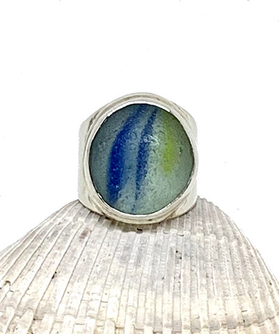 Blue and Yellow Heavy Band Marble Ring - Size 8.5