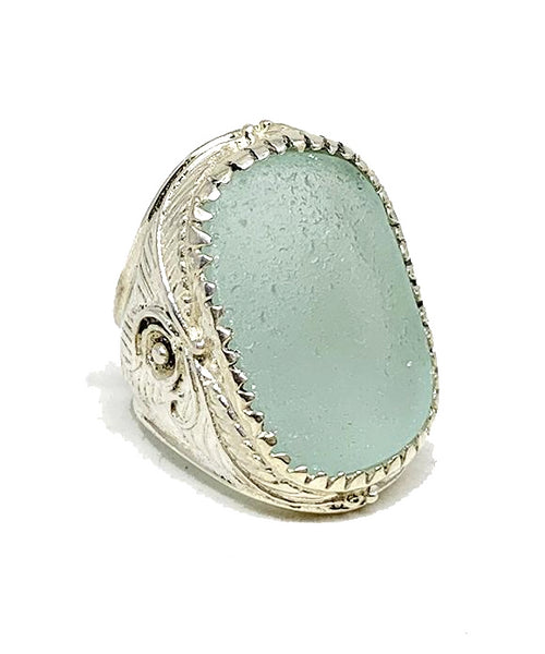 Large Statement Soft Aqua Sea Glass Ring with Leaf & Flower Setting