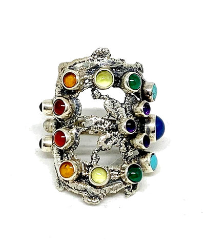 Lace Cast in Sterling Silver with Semi Preciuos Rainbow Stones - Size 8.5