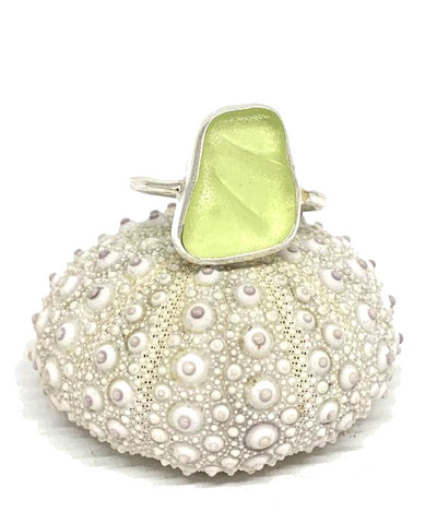 Rare Textured Pale Yellow  Sea Glass Ring - Size 6