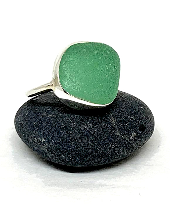 Large Chunky Turquoise Green Sea Glass Ring - Size 8.5