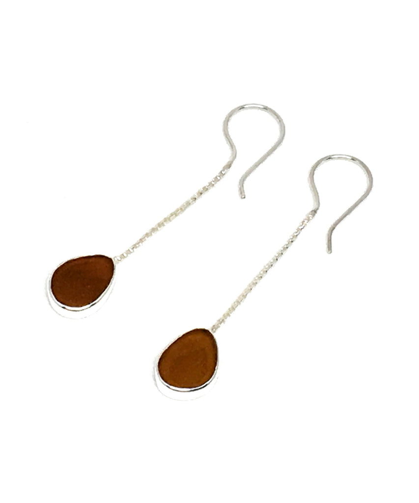 Brown Sea Glass Chain Earrings