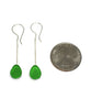 Green Sea Glass Chain Earrings