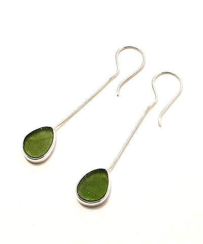 Olive Green Sea Glass Chain Earrings