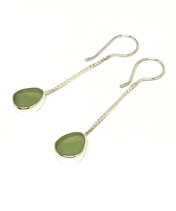Soft Sage Green Sea Glass Chain Earrings