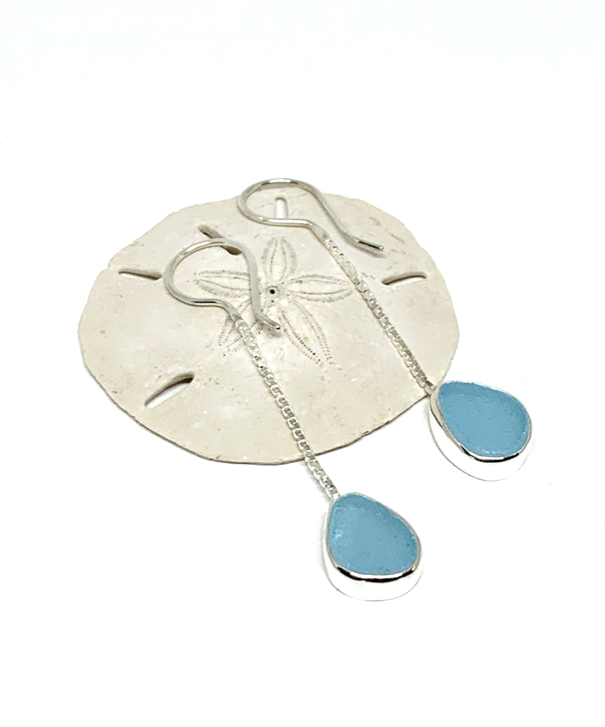 Bright Aqua Sea Glass Chain Earrings