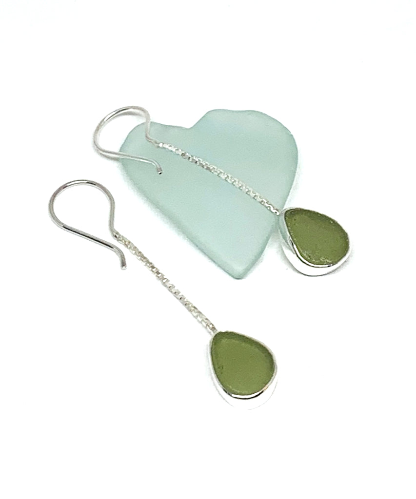 Olive Sea Glass Chain Earrings