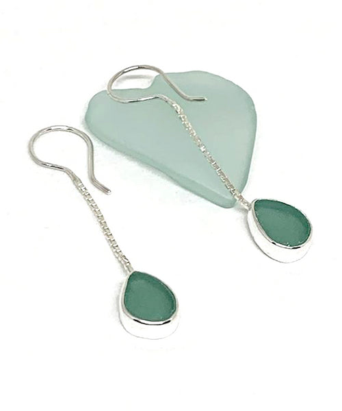Turquoise Sea Glass Chain Earrings