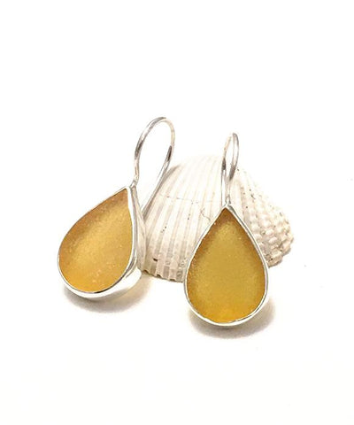 Textured Amber Sea Glass Teardrop Earrings