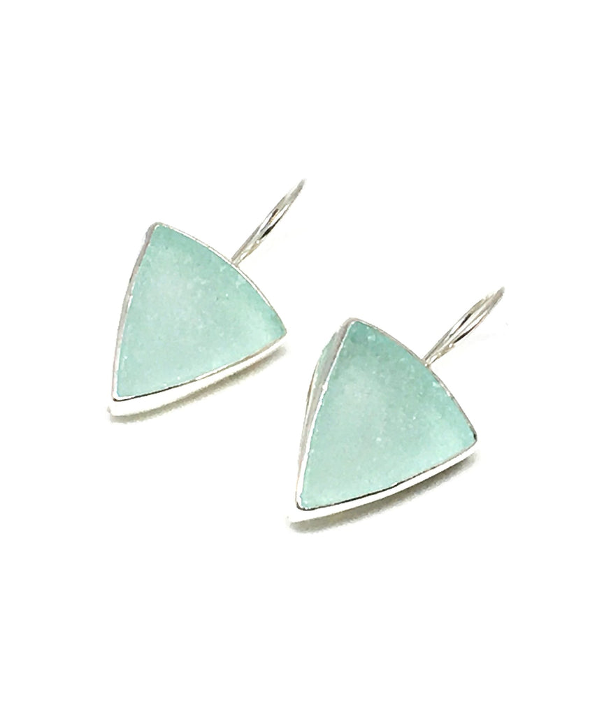 Aqua Triangle Sea Glass Single Drop Earrings