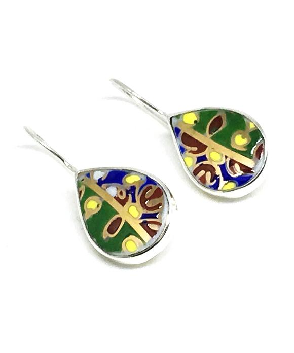 Colorful Textured Bold Teardrop Vintage Pottery Single Drop Earrings