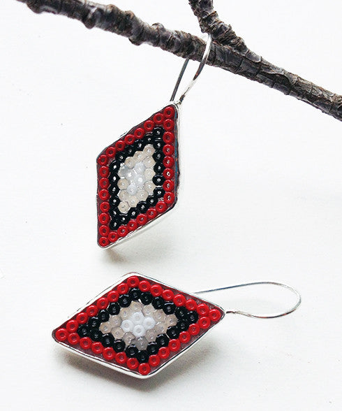 Red, Black and Grey Beaded Fused Glass Earrings
