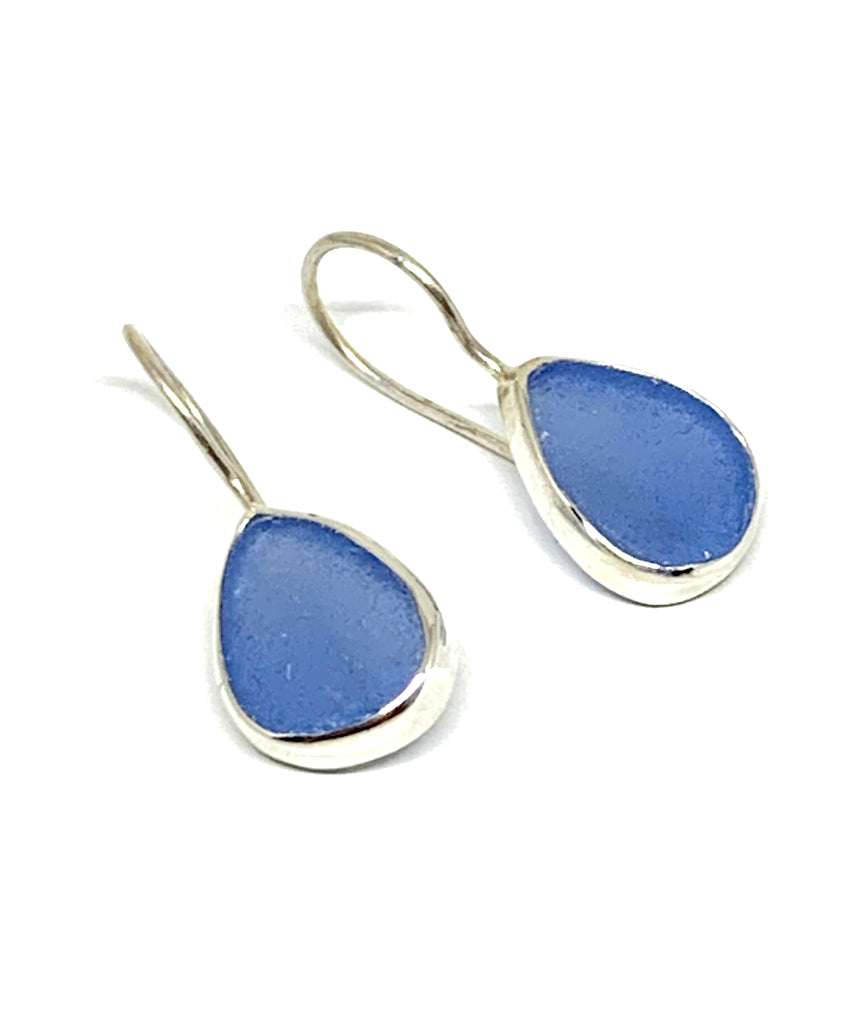 Denim Blue Sea Glass Natural Shape Single Earrings