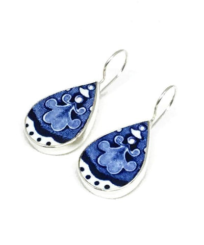 Big Blue & White Patterned Vintage Pottery Single Drop Earrings