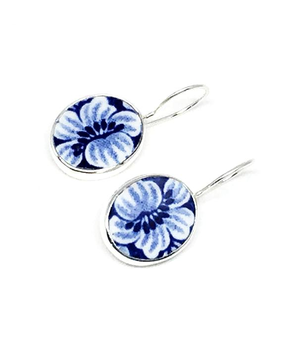 Blue and White Flowers Vintage Pottery Single Drop Earrings